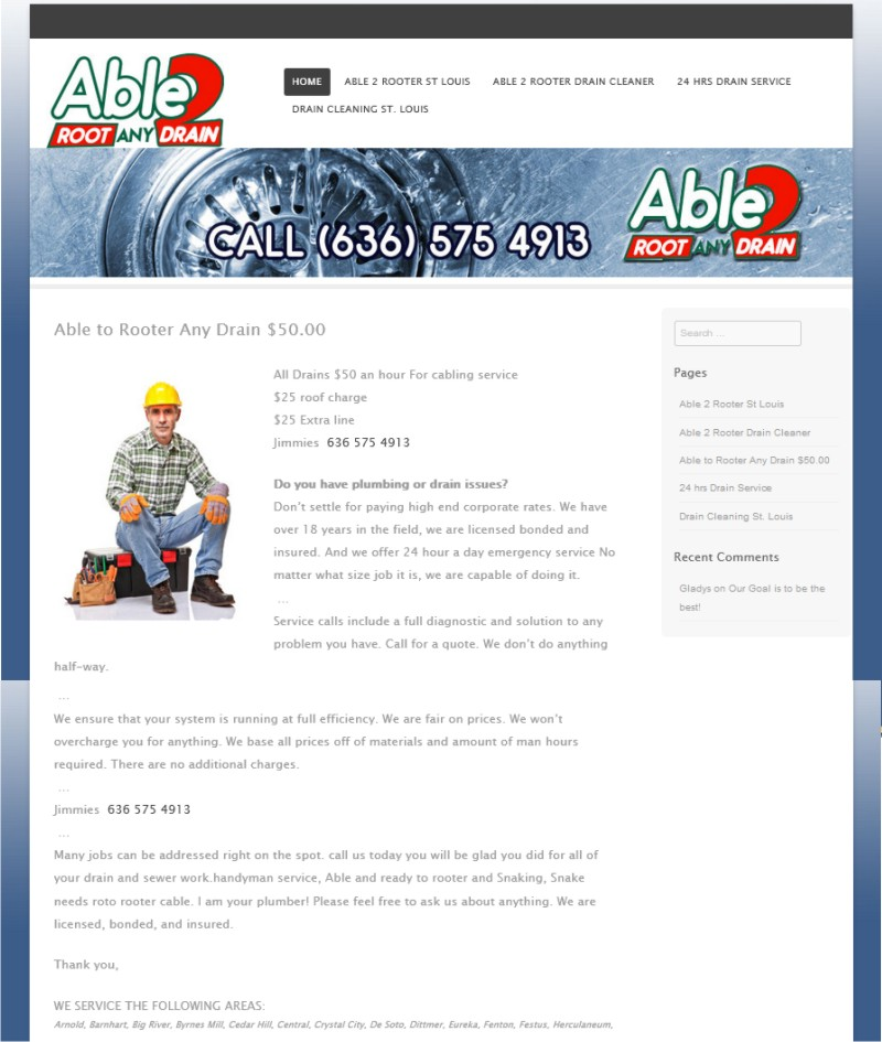 Web Design St Louis - Able 2 Root any Drain