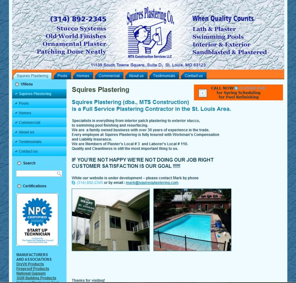 Web Design St Louis - Squires Plastering Co.